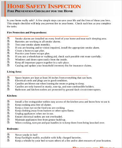 9+ Sample Home Inspection Forms Sample Templates - sample home inspection checklist