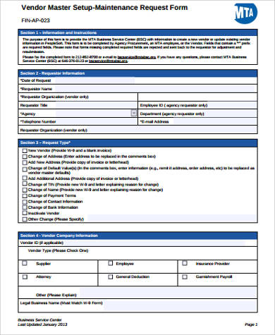 Sample Maintenance Request Form - 11+ Examples in Word, PDF - vendor request form