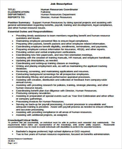 Wonderful ... HR Payroll Job Description Sample   9+ Examples In Word, PDF   Payroll  Coordinator ...