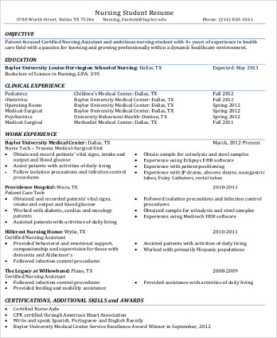6+ CNA Resume Objectives Sample Templates - cna resume objectives