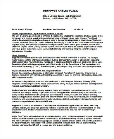 9+ HR Payroll Job Description Samples Sample Templates