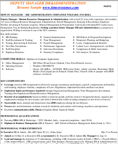 9+ Sample HR Manager Resumes Sample Templates - resume format for administration manager