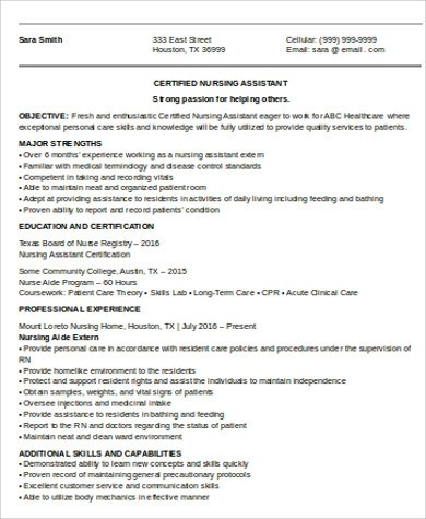 CNA Resume Objective - 6+ Examples in Word, PDF - entry level cna resume