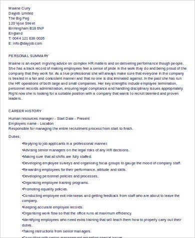 9+ Sample HR Manager Resumes Sample Templates - human resource manager resume