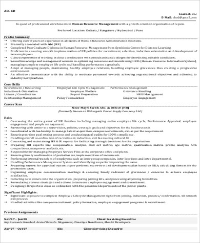 9+ Sample HR Manager Resumes Sample Templates - Hr Manager Resumes