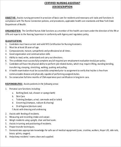 6+ CNA Resume Objectives Sample Templates
