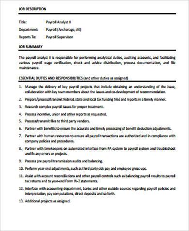 8+ Payroll Analyst Job Description Samples Sample Templates