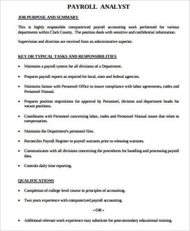 8+ Payroll Analyst Job Description Samples Sample Templates - analyst job description