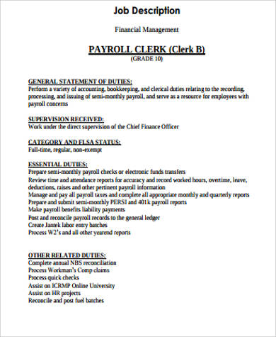 11+ Payroll Job Description Samples Sample Templates