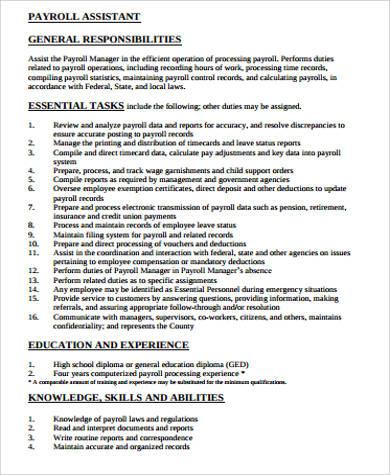 Payroll Job Description Sample - 11+ Examples in Word, PDF