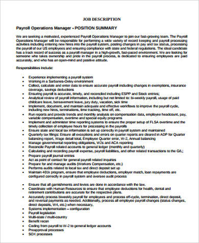Payroll Manager Job Description Payroll Manager Resume Sample Payroll  Resume. Payroll Administrator Resume