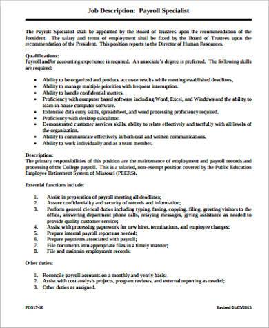 Payroll Job Description Sample - 11+ Examples in Word, PDF - payroll specialist job description