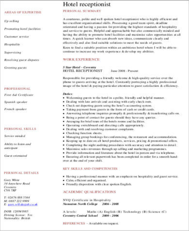 Objective For Hotel Resume hotel maintenance resume free resume