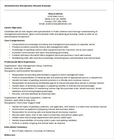 receptionist resume lovinglyy - receptionist objective for resume