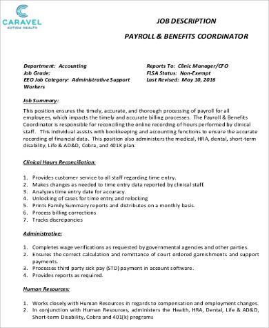 6+ Payroll Coordinator Job Description Samples Sample Templates