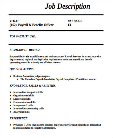 8+ Payroll Officer Job Description Samples Sample Templates - payroll job description