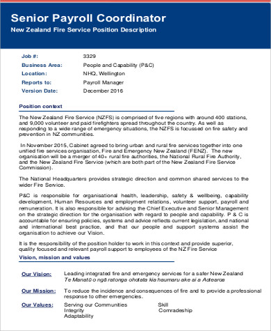 Nice ... Payroll Coordinator Job Description Sample   6+ Examples In Word, PDF   Payroll  Coordinator ...