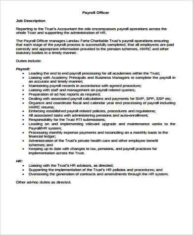 payroll officer description - Basilosaur - payroll job description