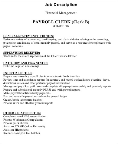 9+ Payroll Clerk Job Description Samples Sample Templates - payroll clerk job description