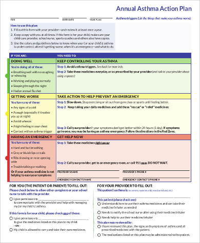 Asthma Action Plan Template the development and comprehensibility