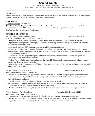 6+ Teacher Resume Objectives Sample Templates