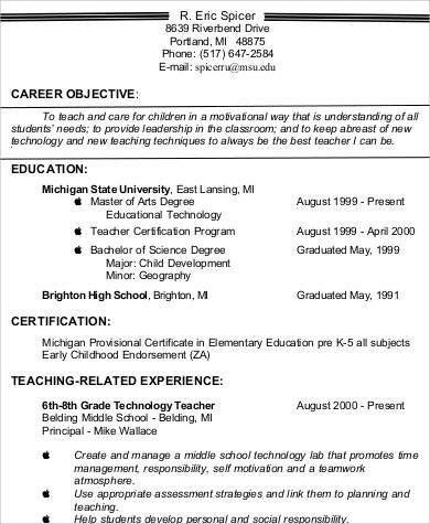 6+ Teacher Resume Objectives Sample Templates - elementary school teacher resume objective