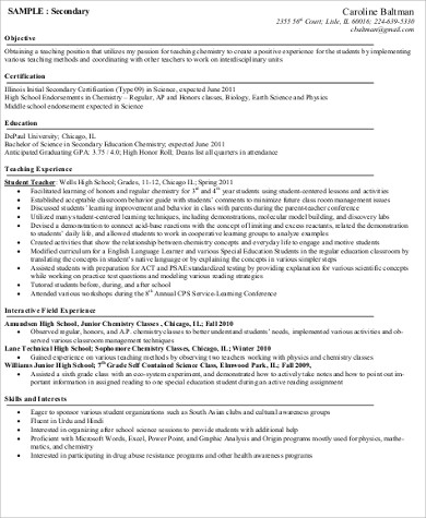 Teacher Resume Objective - 6+ Example in Word, PDF