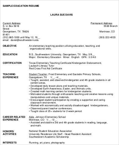 6+ Teacher Resume Objectives Sample Templates - Elementary Teacher Resume Objective