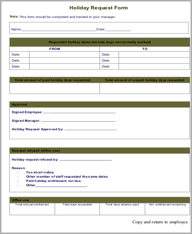 Employee Holiday Form Template | Insurance Claims On Hit And Run