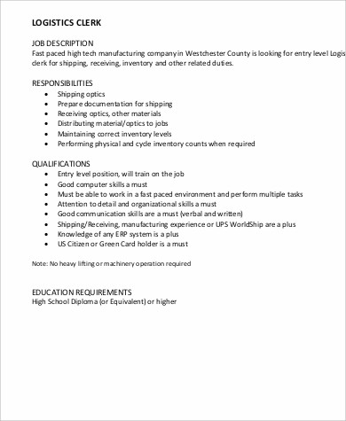Logistics Clerk Job Description Sample - 7+ Examples in Word, PDF