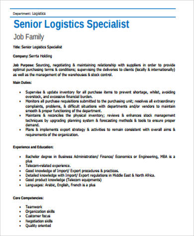 logistics specialist job description sample 7 examples in word pdf logistics job