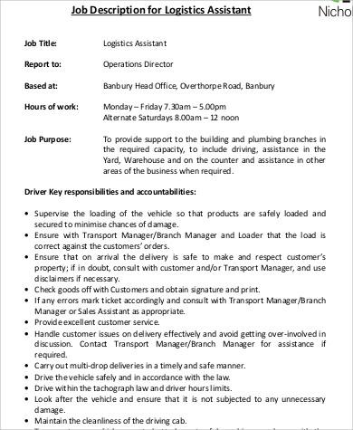 Logistics Assistant Job Description oakandale