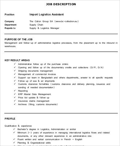 9+ Logistics Assistant Job Description Samples Sample Templates