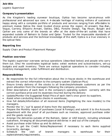 High Quality ... Logistics Supervisor Job Description Sample   7+ Examples In Word, PDF    Supervisor Job ... Images