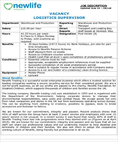 7+ Logistics Supervisor Job Description Samples Sample Templates
