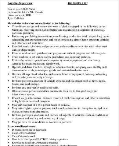 Logistics Supervisor Job Description Sample - 7+ Examples in Word, PDF