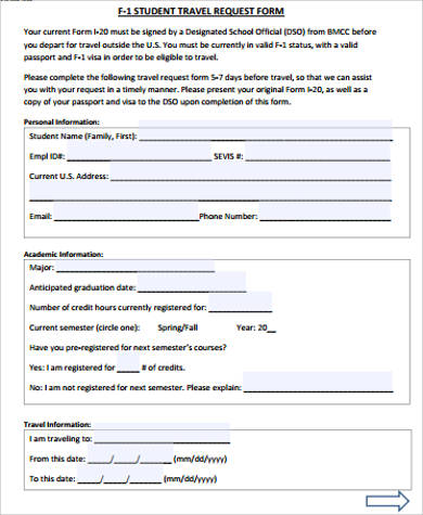 10+ Sample Travel Request Forms Sample Templates - student request form