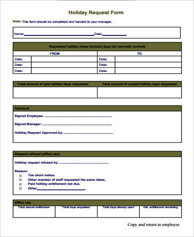 12+ Sample Request Forms Sample Templates - holiday request form
