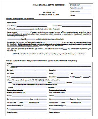 6+ Sample Lease Applications Sample Templates