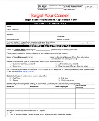 6+ Sample Target Job Application - Free Sample, Example, Format Download