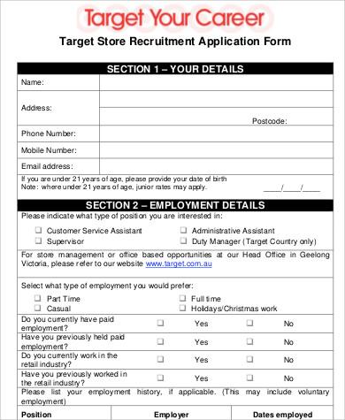 6+ Sample Target Job Applications Sample Templates - target job application form