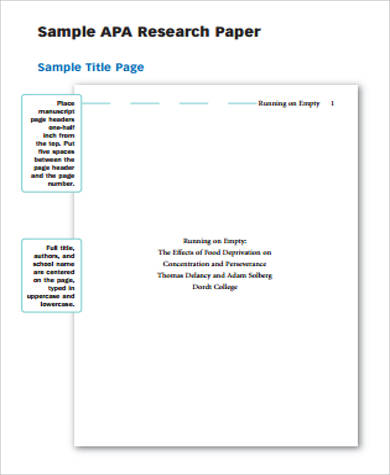 Sample of APA Paper - 6+ Examples in Word, PDF