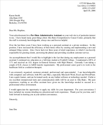 6+ Personal Assistant Cover Letter Sample Templates