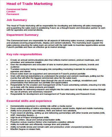 10+ Sample Marketing Job Descriptions Sample Templates
