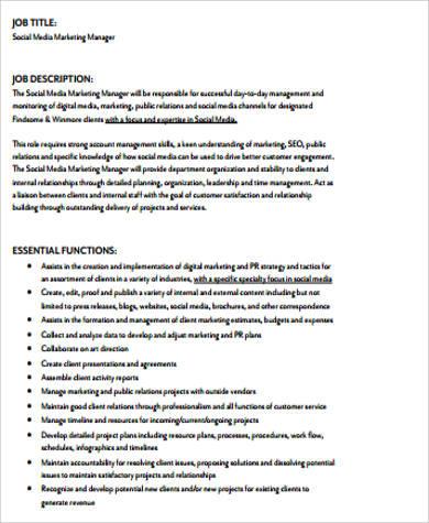 10+ Sample Marketing Job Descriptions Sample Templates - social media marketing job description
