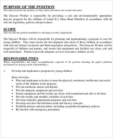 home daycare job description resume resume for daycare worker