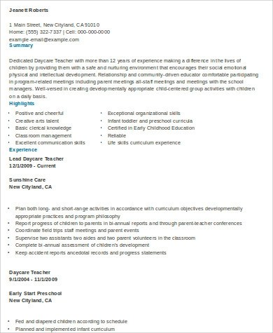 daycare resume examples daycare resume samples for daycare resume
