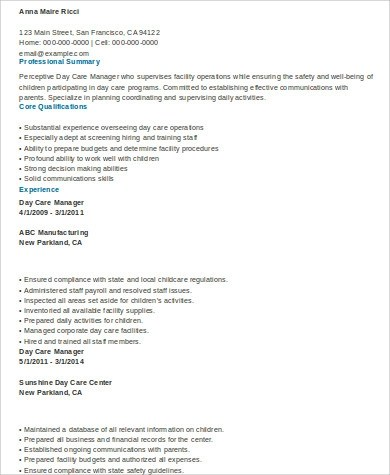 Sample Daycare Resume - 8+ Examples in Word, PDF