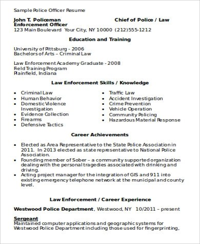 Sample Police Resume - 9+ Examples in Word, PDF
