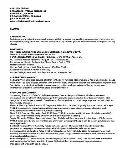 Sample Physical Therapist Resume - 8+ Examples in Word, PDF - physical therapist resume